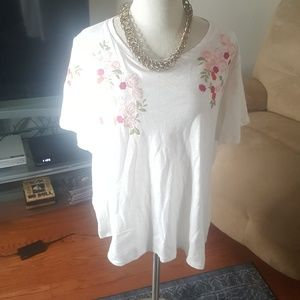 NWT Anthropologie Embroidered T Shirt